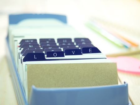 keep in touch: LOVE letter on name card box keep in touch with love