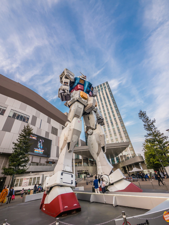 ODAIBA, TOKYO, JAPAN - MARCH 30, 18-meter Mobile Suit Gundam RX78 robot in front of DiverCity Tokyo Plaza, Odaiba. Gundam is a well-known Japanese robot animation.