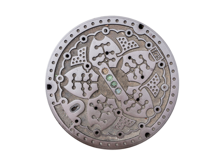 Circle steel manhole cover or metal sewer in Japan isolated on white background