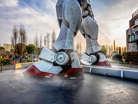 ODAIBA, TOKYO, JAPAN - MARCH 30, Both legs part of 18-meter Mobile Suit Gundam RX78 robot stand in front of DiverCity Tokyo Plaza, Odaiba. Gundam is a well-known Japanese robot animation.