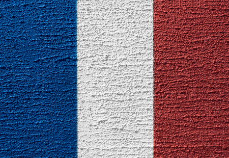 Concept design of France flag by color painting on the rough concrete wall