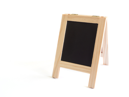 Blackboard with easel stand or sidewalk signboard isolated on white background with copy space