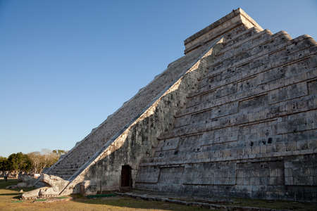 The feathered serpent god of the Mayans, crawls down the pyramid El Castillo during spring equinox