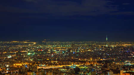 nightshot: Night-Shot from Tehran skyline with panoramic view of the city