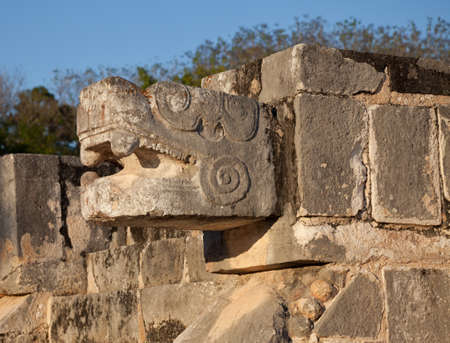 feathered: One of the feathered serpent statues of Chichen Itza in Mexico  Stock Photo
