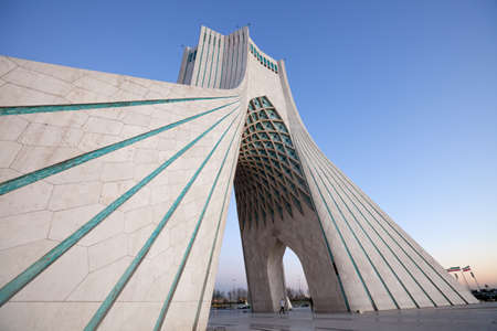Side view of Azadi square, the famous landmark of Tehran, Iran