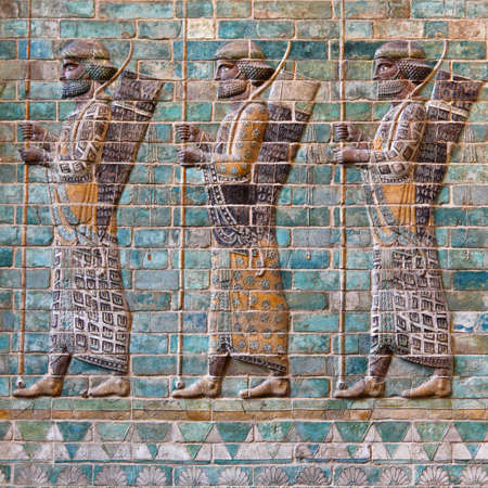 fars: Carved Persian Achaemenid soldiers which used to decorate the walls of kingdom palace in Susa of Iran