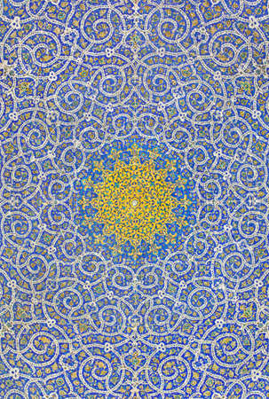 Background from motif design inside dome of a mosque in Chahar Bagh, Isfahan-Iran  photo