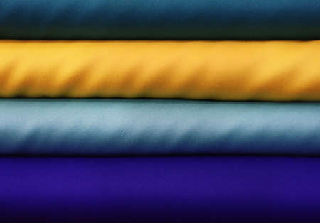 tonality: Colorful blue and yellow fabrics in a textile store