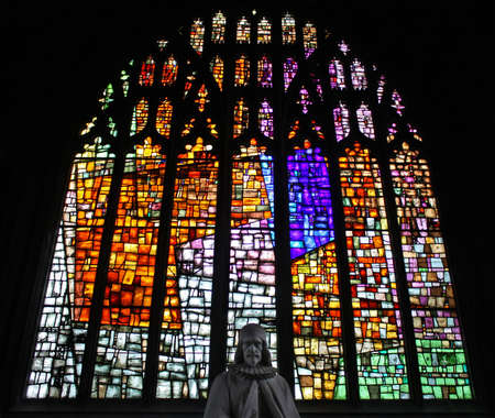 stained glass church: Stained glass in Manchester Cathedral