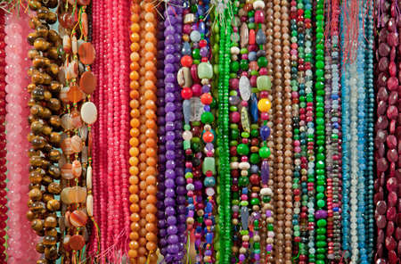 semiprecious: Strings of colorful semiprecious beads and gemstones