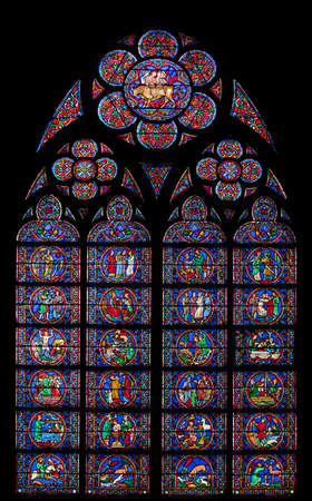Famous stained glass window of Notre Dame Cathedral in Paris