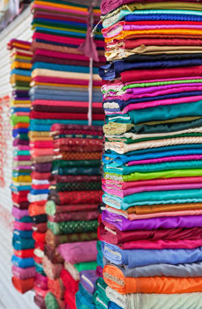 Colorful fabrics in the store photo