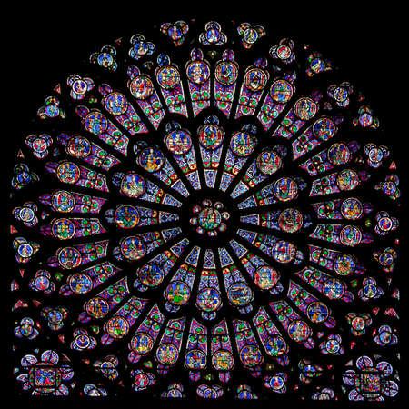 Roosvenster van de Notre Dame kathedraal in Parijs Stockfoto