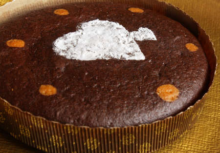 Brownie cake with heart decoration photo