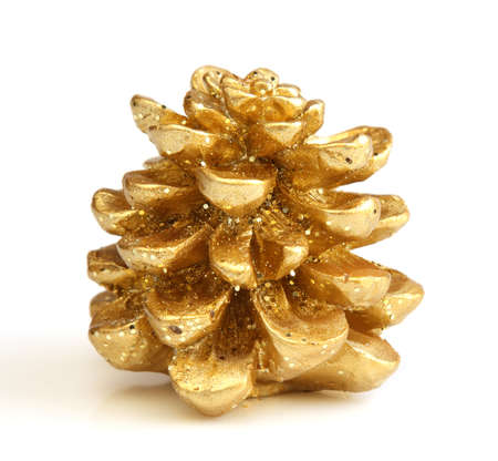 Isolated golden Christmas pine cone photo