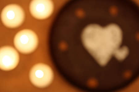 Hearts and candles artistic blur photo
