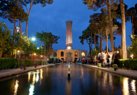 e 27: YAZD, IRAN - March 27: Illuminated Bagh-e Dolatabad on March 27, 2012 in Yazd, Iran. This garden is a famous landmark and its pavilion is renowned for having world?s tallest badgir (Windcatcher). Editorial