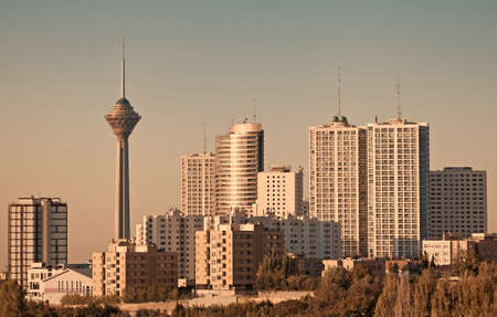 Skyline of Tehran including its famous landmark, the Milad Tower. photo