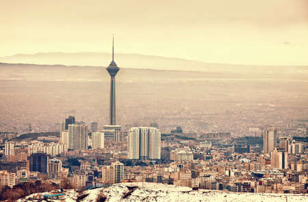 Tehran skyline including Milad Tower, with panoramic view of the city.
