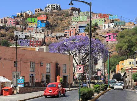 City of Guanajuato with its colorful buildings in Mexico. Editorial