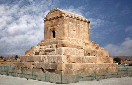 cyrus: Mausoleum of Cyrus The Great against blue sky in Pasargadae of Shiraz, Iran.