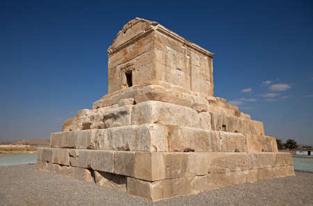 shiraz: Burial tomb of Cyrus The Great , founder of Achaemenid empire, against blue sky in Pasargadae county, near Shiraz.