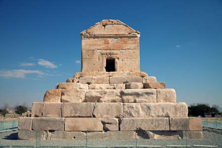 fars: Tomb of Cyrus The Great against blue sky in Pasargadae county, near Shiraz. Stock Photo