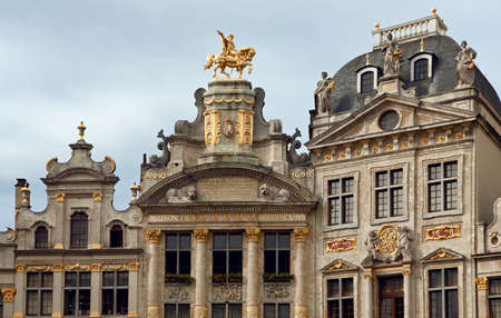 Historical buildings including Maison Des Brasseurs and Anno in Grand Place of Brussels, Belgium.