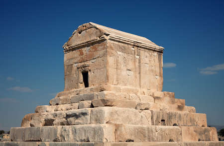 cyrus: Burial chamber of Cyrus The Great against blue sky in Pasargadae county, near Shiraz.