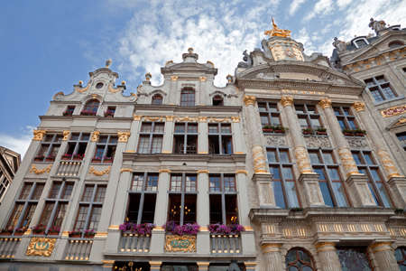 guildhalls: Old historical buildings including Maison Des Brasseurs and Anno in Grand Place of Brussels.