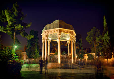 hafez: Illuminated Tomb of Hafez the Great Iranian Poet in Shiraz at night.