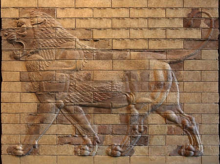 bas: Decorative ancient panels of molded terracotta bricks with Lion Bas Relief from ruins of Susa, Iran.