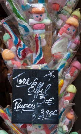 spongy: Colorful Spongy French Marshmallows and Candies shaped as Paupees and Eiffel Tower.