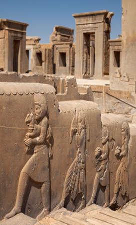 sirvientes: marcos de piedra de las puertas del palacio de Dar�o detr�s bas en relieve relieves de los funcionarios que traen regalos al rey aquem�nida de Pers�polis de Shiraz.