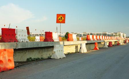 Major road construction with safety plastic cone Archivio Fotografico