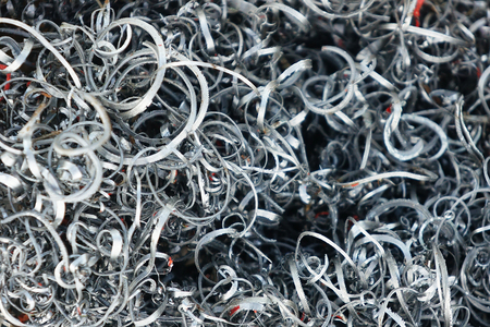 Ferrous of scraped metals, metal shavings - close up image