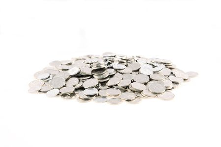 Pile of Czech coins on white background