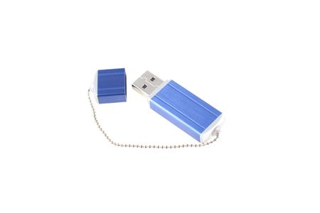 Blue USB pen drive on white background Stock Photo