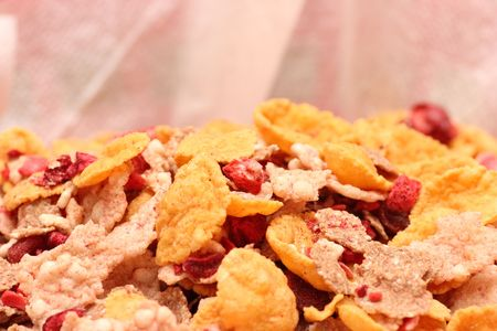 Various cereal flakes with fruit