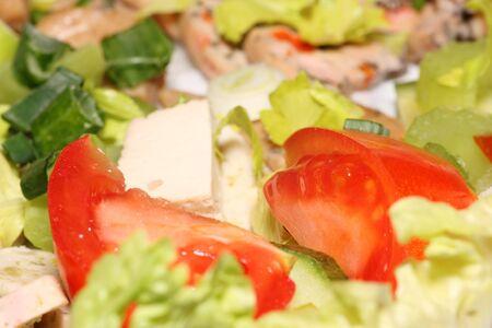 Juicy vegetable salad with tofu