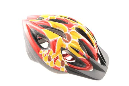Colourful protective bicycle helmet isolated on white background Stock Photo