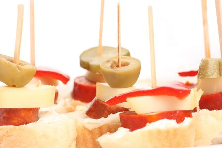Detail of finger foods on bright background Stock Photo
