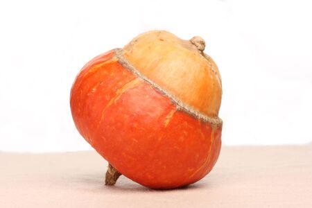 Orange decorative pumpkin of unusual shape