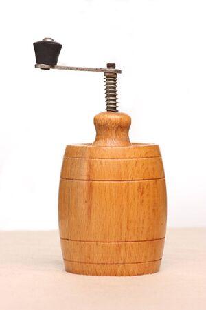 Close up of wooden spice grinder