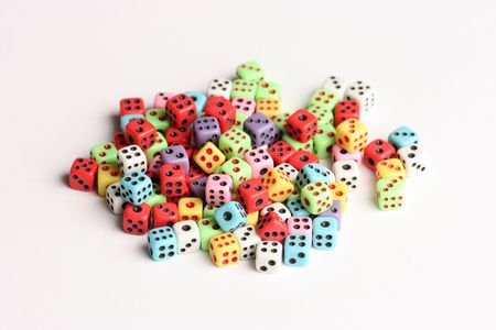 Pile of dices of various colors