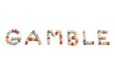 The word Gamble made of colorful dices Stock Photo