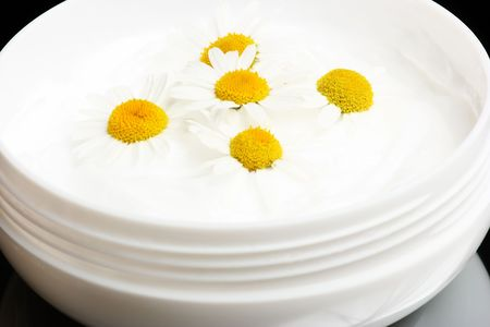 White cosmetic cream with several chamomile flowers in it
