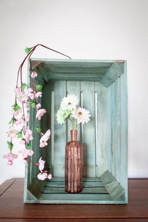 Spring Flowers Gerbera Or Daisy In A Vintage Pink Vase Inside