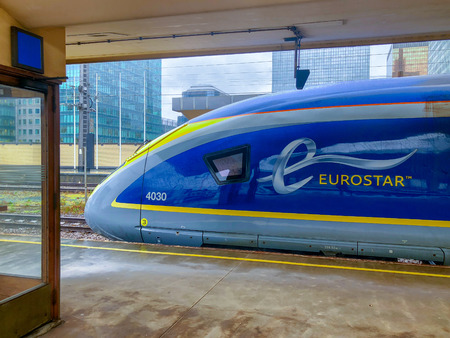 Brussels, Belgium - October 30, 2018: The E320 Eurostar International High Speed passengers Train waiting in the Brussels North railway station.
